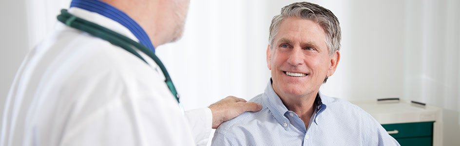 Male patient with doctor
