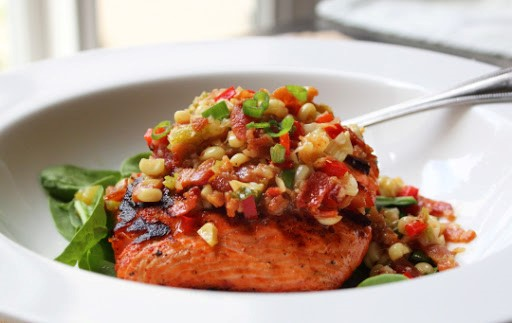 Grilled Salmon and Corn Relish