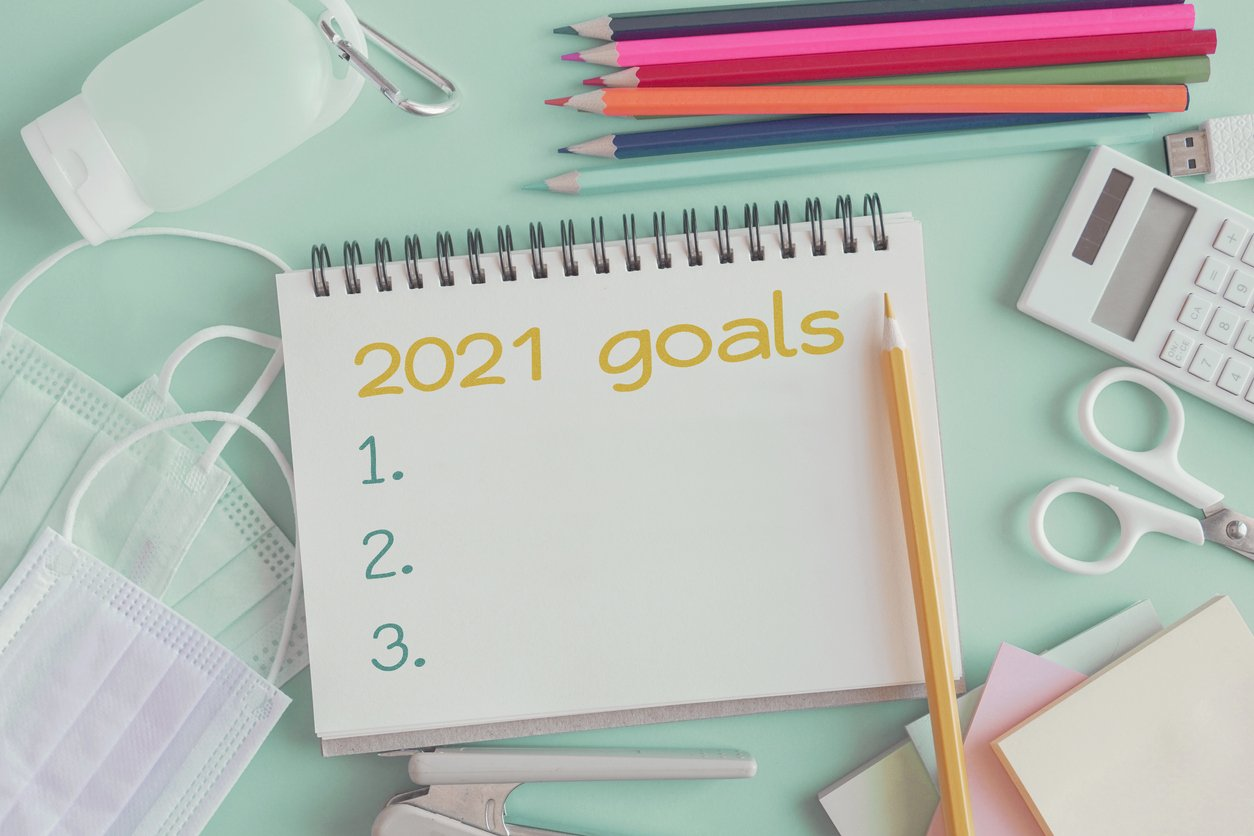 notebook and supplies with 2021 goals
